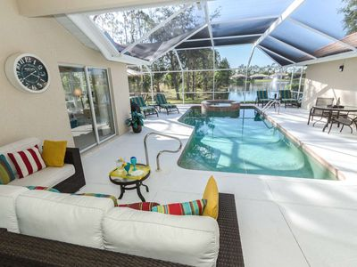 Photo for Upscale Briarwood pool/spa home w/lake view, outdoor entertaining space w/TV & 2 master suites