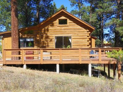 The Log Cabin Surrounded by Ponderosa Pine Trees