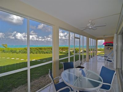 The private 40-foot screened porch has dual ocean views (front & side). Amazing!