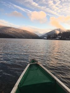 Just a quick canoe ride away.