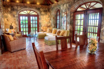 Magnificent stone Great Room with soaring ceilings!