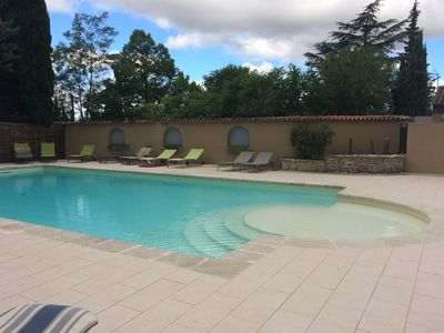 Photo for Air-conditioned charming apartment with a private garden and swimming pool