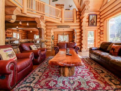 Photo for Kodiak Lodge: 5 Star, Log Style Paradise! Close to the National Forest! Hot Tub! Pool Table! Sauna!