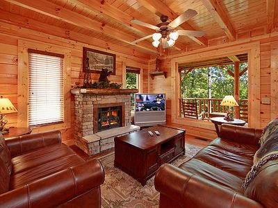 Photo for Rustic Retreat| Long Range Mountain View | Wears Valley | Game Room | Hot Tub | WiFi | Resort Pool