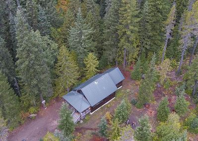 Summer aerial view of the Marshall Cabin