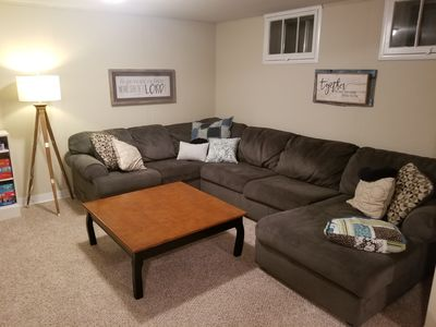 Comfortable living room.  Extra bedding for an adult or children available.