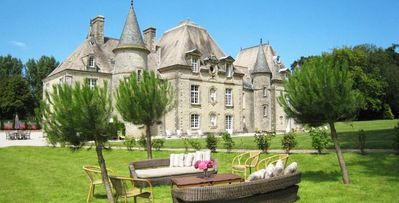 Photo for 8bd castle-style villa with gardens and pool in Normandy
