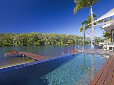 Photo for Situated in a trophy position on Noosa Sound overlooking the tranquil parkland!