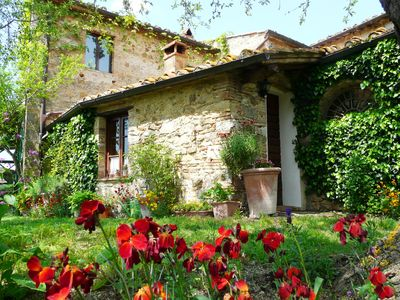 Photo for Lovely cottage in Chianti, on Tuscan organic ecoturismo with pool & sunset views