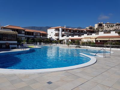 Photo for Apartment Playa del Duque in front line, right on the beach, heated pool, wifi
