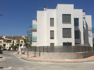 Front of apartment block