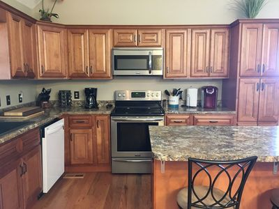 Fully stocked kitchen to include garbage disposal and Keurig Coffee Maker.