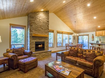 Photo for Open great room features a stone gas fireplace, Free SHARC Passes - CAMA16