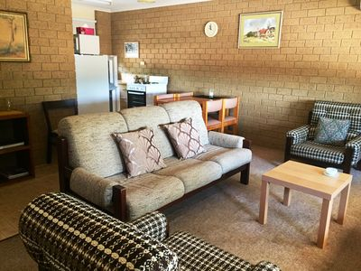 Living/Kitchen Area - includes fridge,stove and microwave.