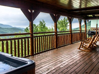 Photo for Honeymoon cabin with breathtaking views, hot tub and pool table