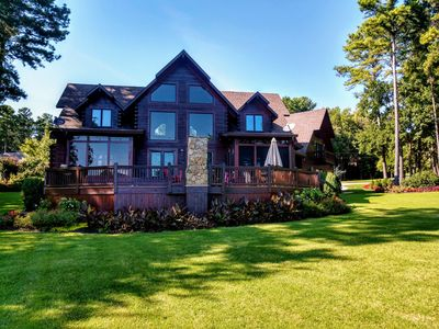 Photo for Gorgeous log home with amazing waterfront, private beach, new pool & boat avail.