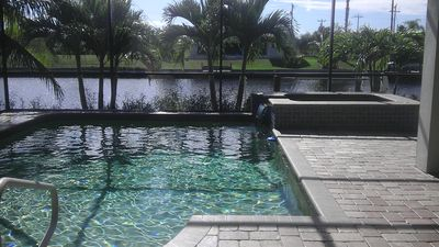 Pool and Spa overlooking Dock and Canal
