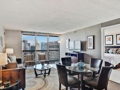 Photo for Swanky 42nd-floor, dog-friendly suite w/ shared pool, gym, & more - great views!