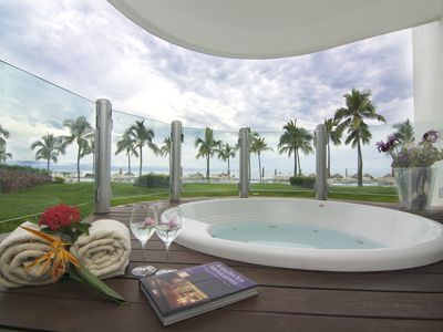 Photo for Beachfront ground floor condo in exclusive private complex next to Grand Mayan