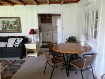 Entry into cottage - table in living room just off of kitchen