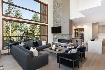 Open plan main living area with wonderful views of the lake and mountains.