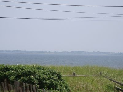 View from upstairs of house towards the beach