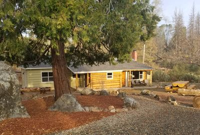 Stony path to your updated Log House Retreat
