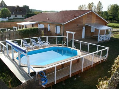 Photo for 4 Chalets, 4 pools and 4 private spa, quiet place 300 m River