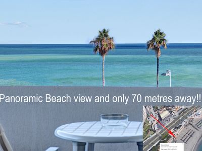 Photo for Panoramic Beach/Sea View from just 70 metres, windows with sea views all around!