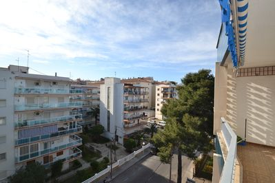 Sunny terrace (sunblind) - overall view onto Salou's centre.