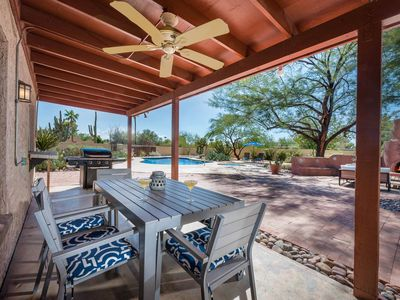 Photo for NEW LISTING! Luxurious home w/ patio plus private pool & pool spa - dogs OK!