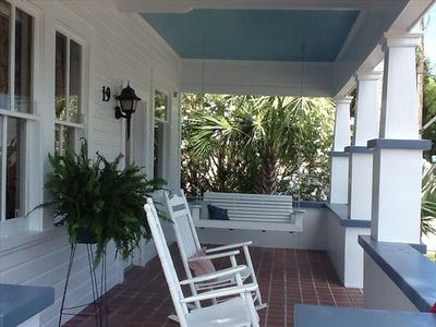 Relax on Your Own Front Porch Just One Block from the WHARF & Seafood Festival!