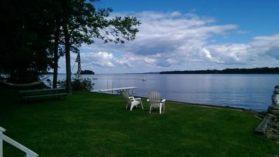 Photo for FALL AVAILABLE -  Lakefront, beach, dock, beautiful bay! Gas fireplace!
