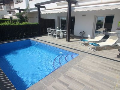 Photo for Beautiful, South facing, Front line ground floor apartment with private pool.