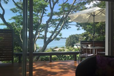 The view from the guest lounge looks out over the upper Tauranga harbour.