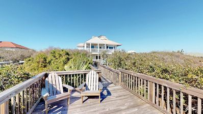 """Photo for Ready After Hurricane Michael! Private pool in this beachfront Plantation home! Pets welcome! Hot Tub, Fireplace, Elevator, 5BR/4BA """"After Dune Delight"""""""