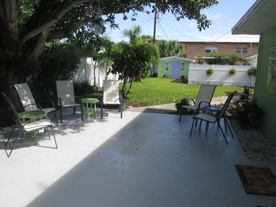Patio with fenced In yard