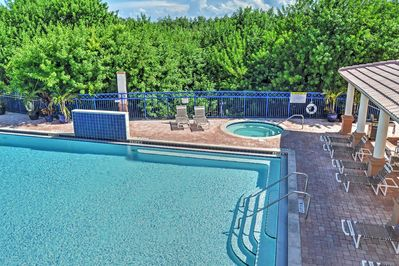 Shared amenities include this luxurious pool.