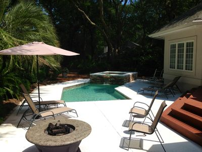 Pool Deck Featuring 8x8 Spa completed Spring 2014.  Seats 8 to 10 comfortably.
