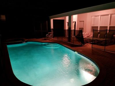Beautiful and Child-Safe Pool Area at Night