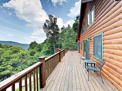Photo for Luxe Log Cabin in Gated Community w/ Deck & Stunning Mountain Views