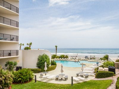 Photo for Oceanfront condo w/ balcony, views, shared pool and hot tub - snowbirds welcome!