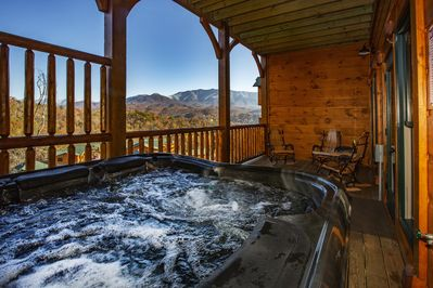 Enjoy the view from themost decked out hot tub in the Smokies