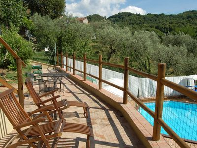 Photo for Private Villa with WIFI, private pool, A/C, TV, terrace, panoramic view, parking, close to Lucca