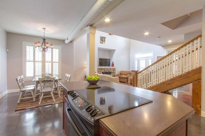Well stocked kitchen with large island. Open to dining room and family room.