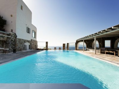 Photo for Amazing Sunset Villa, Private Infinity Pool, Sea Views and 3 mins to Ornos Beach