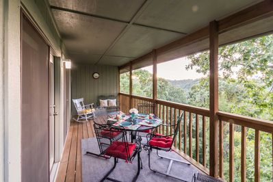 Soak in the incredible Ozark views from the private porch.
