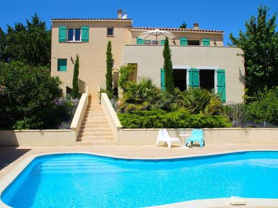 Photo for Villa with swimming pool, fenced garden and view, within walking distance from village center