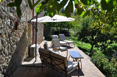 The enormous terrace is a feature of Podere La Rota