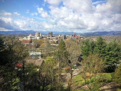 Great west view of downtown Asheville and the Smokey Mountains and sunsets.